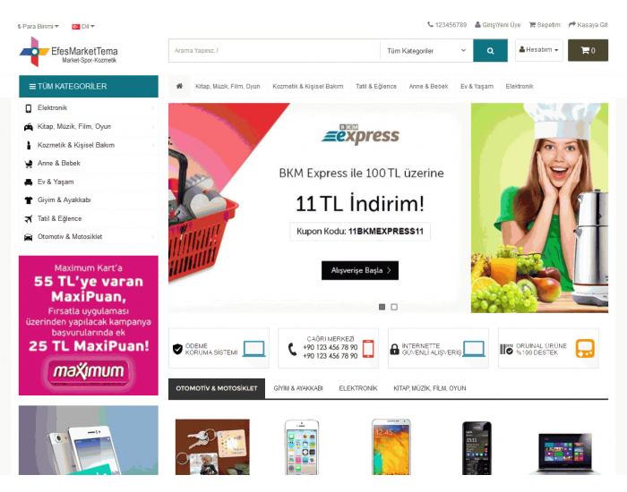 Efesmarket Full E-ticaret Hazır Site Paketi