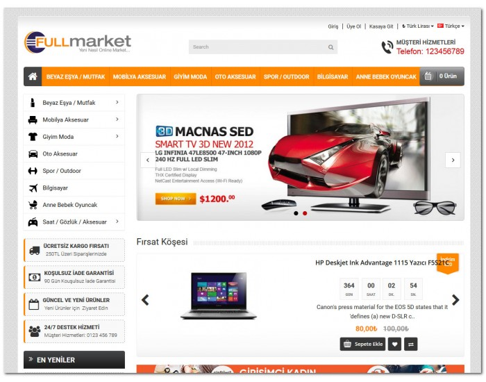 FulMarket Opencart 2.1x Site Teması