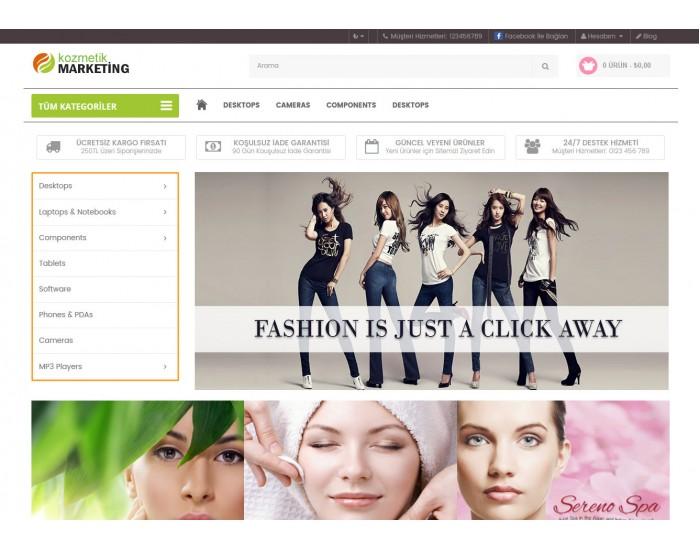 Kozmetik Ve Bitkisel Mağaza Site Teması