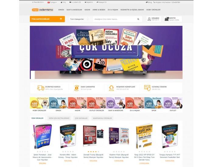OsdemTema Kitap Ürün satış Opencart 3x Site Teması