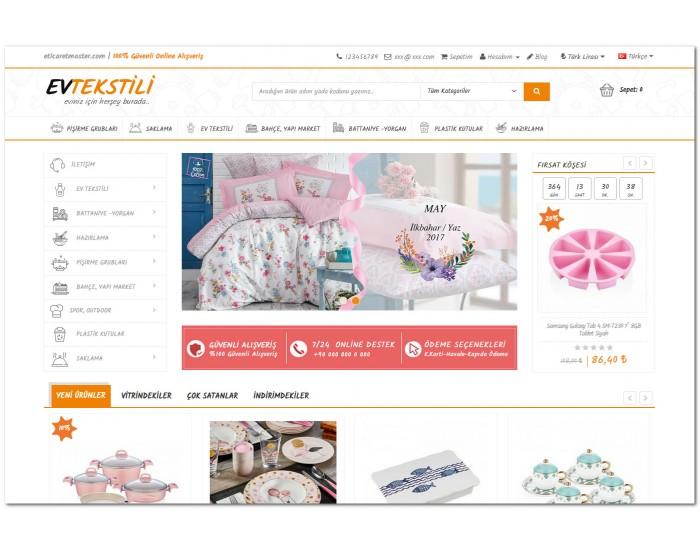 Opencart Tekstil ve Züccaciye Ürünleri Full E-ticaret Hazır Site Paketi