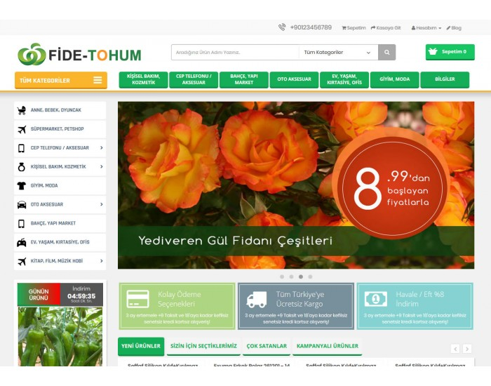 Opencart Tohum - Fide - Çiçek - Tarım Ürünleri Full E-ticaret Hazır Site Paketi
