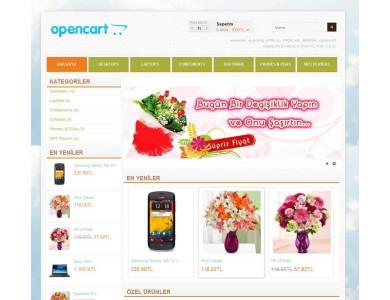 Opencart 1.5.2-1.5.3-1.5.4-1.5.5 Flower Çiçekci Teması