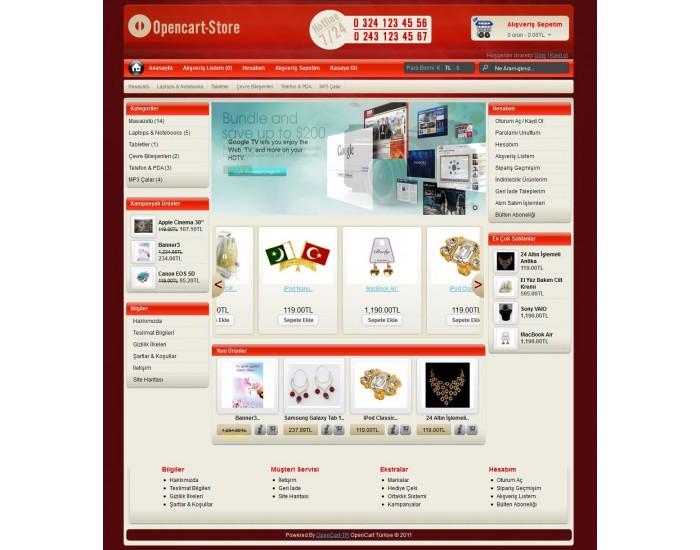 Opencart o-store 1.5.x Tema