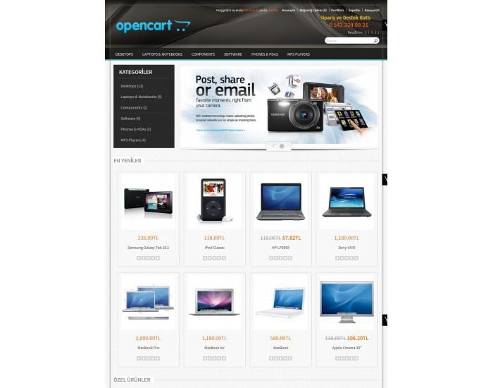 Opencart 1.5.2-1.5.3-1.5.4-1.5.5 - 156 Teknoloji Teması